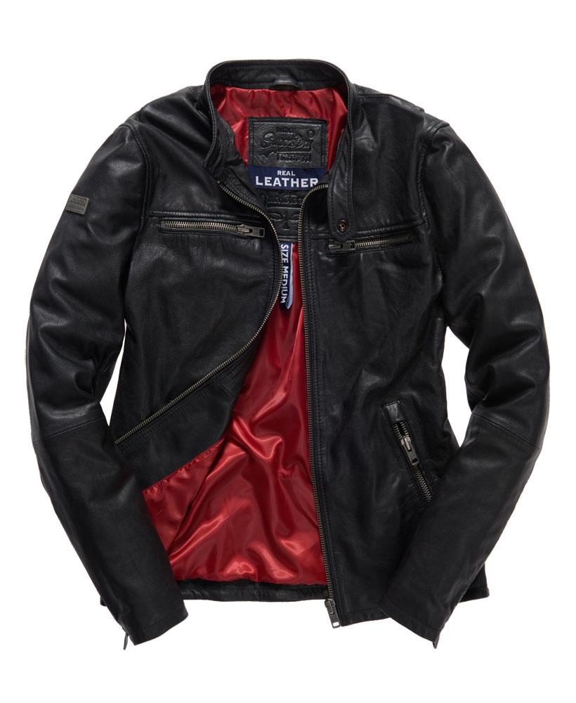 Leather jacket superdry - Superdry Real Hero Leather Jacket