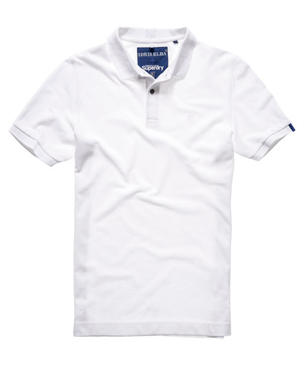idris superdry pique polo shirt white